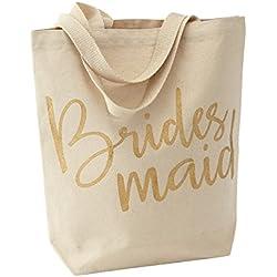 Mud Pie 4485035 Wedding Canvas Tote Bag, Bridesmaid