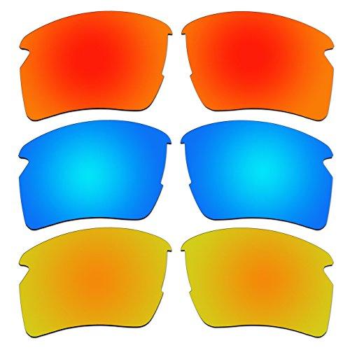 ACOMPATIBLE 3 Pair Replacement Polarized Lenses for Oakley Flak 2.0 XL Sunglasses Pack P8