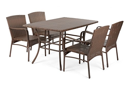 Price comparison product image W Unlimited SW1616-DS5-02 Leisure Collection Outdoor Garden Patio 5-PC Dining Furniture Set Dark Brown