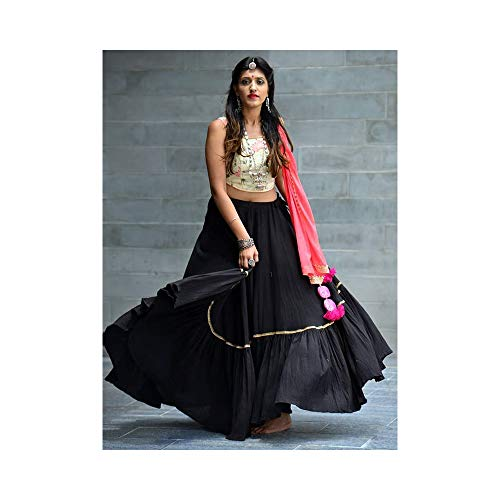 Fashion Vibes Beautiful Black Crepe Silk Embroidered Lehenga Choli