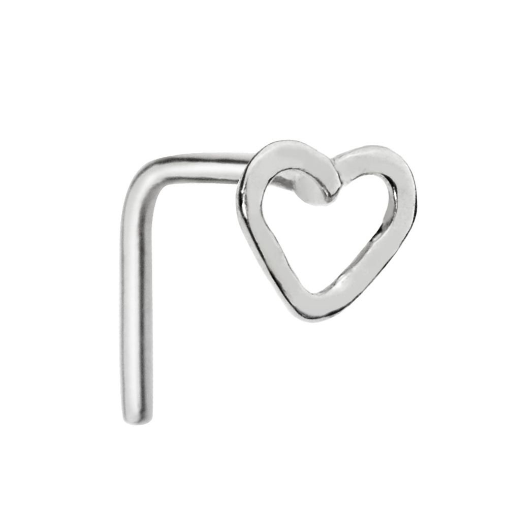 Sampson Nose Ring - Nose Stud - Sterling Silver 20 Gauge - Open Valentine Heart