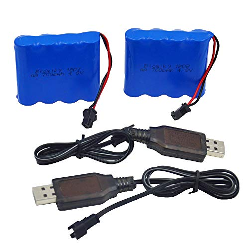 Nicd Battery Packs - Blomiky 2 Pack 4.8V 700mAH Ni-Cd Battery Pack and 2 USB Charger Cable for Blomiky C181 C182 C185 1/18 Scale RC Truck C181 Battery & USB 2