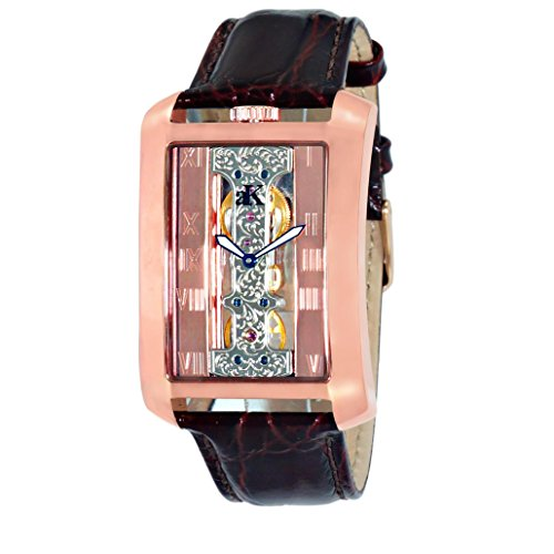 Adee Kaye Men's Tablet Brown Calfskin Band Steel Case Automatic Rose Gold-Tone Dial Watch ak7171-MRG