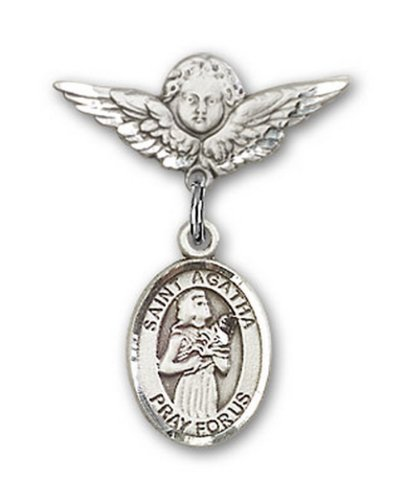 Icecarats Créatrice De Bijoux En Argent Sterling St. Agatha Charme Ange Pin Badge 7/8 X 3/4