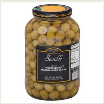 Seville, Pitted Queen Spanish Green Olives, 1 Gallon (4 Count)