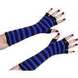 Punk Rocker Gothic Long Sleeve Fingerless Gloves Arm Warmers - D