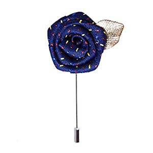 RareLove Navy Blue Rose Leaf Lapel Pin Wedding Boutonniere for Men Flower