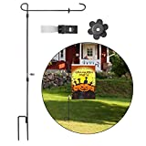 Garden Flag Stand, Premium Garden Flag Pole Holder, Metal Powder-Coated Weather-Proof Paint with Garden Flag Stopper and Anti-Wind Clip, Keep Your Flags from Flying Away in High Winds