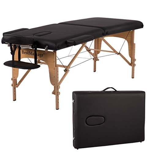 Massage Table Massage Bed Spa Bed 84 Inches PU Portable Massage Bed 2 Fold Heigh Adjustable Massage Table Bed w/Free Carry Case Facial Cradle Salon Tattoo Bed
