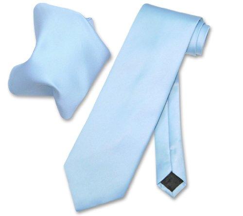 Vesuvio Napoli Solid BABY BLUE Color NeckTie & Handkerchief Men's Neck Tie Set (Baby Blue Necktie)
