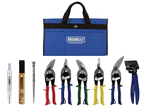 (MIDWEST BUILDING Tool Kit - 9 Piece Set Includes Aviation Snips with Siding Tools & Bag - MWT-BULDKIT02)