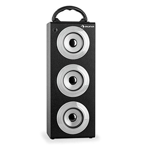 auna Beachboy XXL Akku Bluetooth-Lautsprecherbox tragbarer Außenlautsprecher für Park und Strand (Mp3-fähiger USB-SD-Slot, AUX, UKW-Radio, Fernbedienung) silber ...