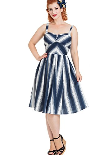 ce5ea27c8fc Voodoo Vixen Damen Kleid Kayla Nautical Streifen Retro Dress Navyblau    Weiß KKGM5vdUj