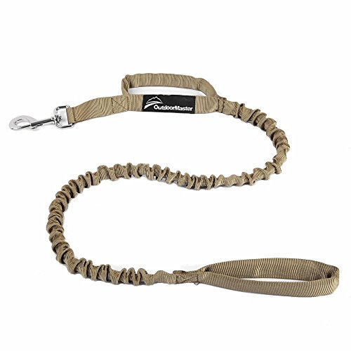 OutdoorMaster Bungee Dog Leash, Improved Dog Safety & Comfort (Tan)