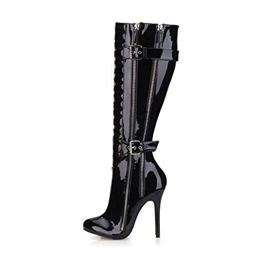 rodilla de tacón Sexy Patente CHAU Hebilla Cremalleras Botas Plisado la Mujeres CHMILE alto Hasta Largo Botas Negro Estilete 6wYO4
