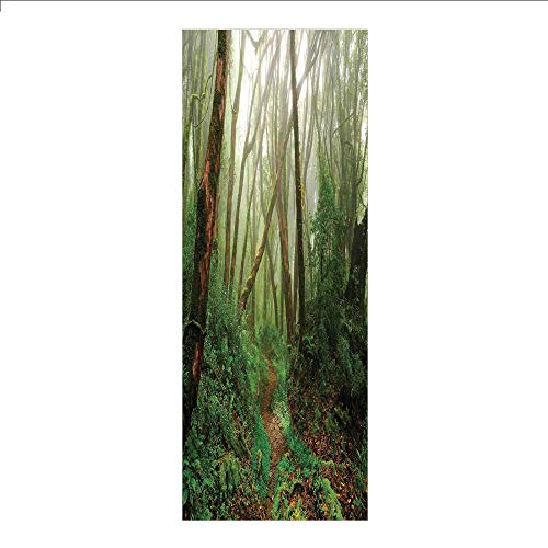 3D Decorative Film Privacy Window Film No Glue,Farm House Decor,Spooky Tropical Exotic Fog Jungle in Rainforest in Nepal Asian Climate Picture Print,Green Brown,for Home&Office]()