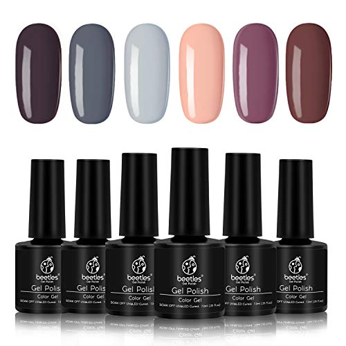 Beetles Gel Polish Set - Nude Gray Series 6 Colors Gel Nail Polish Kit Nail Art Gift Box, Soak Off LED UV Nail Gel, 7.5ml Each Bottle