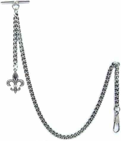 Albert Chain Pocket Watch Curb Link Chain Antique Silver Color Fleur-de-lis Emblem Fob T Bar AC49