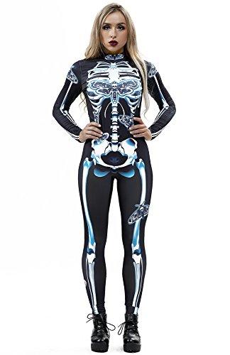 URVIP Women Halloween Skeleton Costume Stretch Skinny Catsuit Jumpsuit Bodysuit BAX-010 L (Best Halloween Costumes 2019 Couples)
