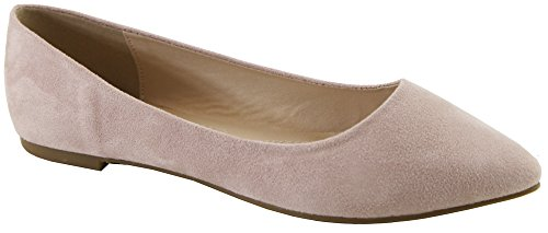Bella Marie Angie-53 Womens Classic Pointy Toe Ballet Slip On Flats Shoes Nude oDrREulqWI