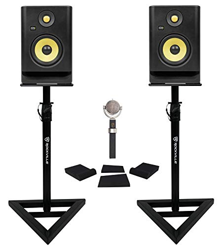 Blue Dragonfly Condenser Recording Microphone+(2) KRK RP5G4 Monitors+Stands+Pads