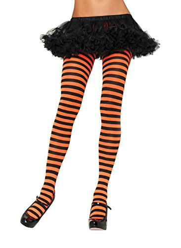 Leg Avenue Women's Nylon Striped Tights, Black/Orange, One Size for $<!--Too low to display-->