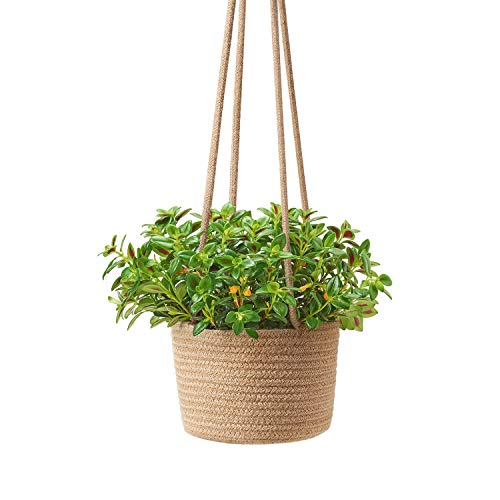 - Mkono Jute Rope Hanging Planter Woven Plant Basket Indoor Up to 7