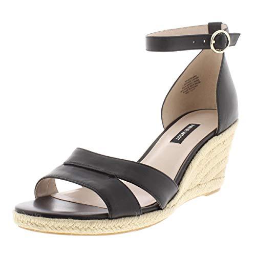 Nine West Womens Jeranna Leather Ankle Strap Espadrilles Black 5 Medium (B,M)