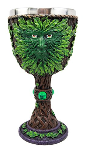 Atlantic Collectibles Large Mythical Greenman Deity Of Rebirth Wine Goblet Chalice Cup Figurine 8oz Medieval Themed Party Accessory -