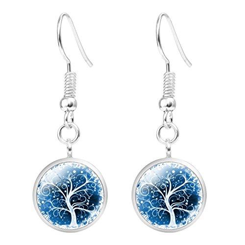 Jiayiqi Jewelry Womens Likable Tree Glass Cabochon Dangle Drop Earrings