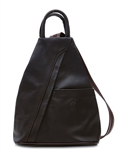And Leather Adjustable With Leaf Flap Backpack Italian Rucksack Weight Bag Genuine Shoulder Soft Super Real Coffee Dark Light wAxgvU