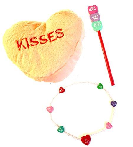 Conversation Heart Pencils (Valentine's Day Conversation Hearts Girls Gift Bundle - Necklace Pencil Plush Heart)
