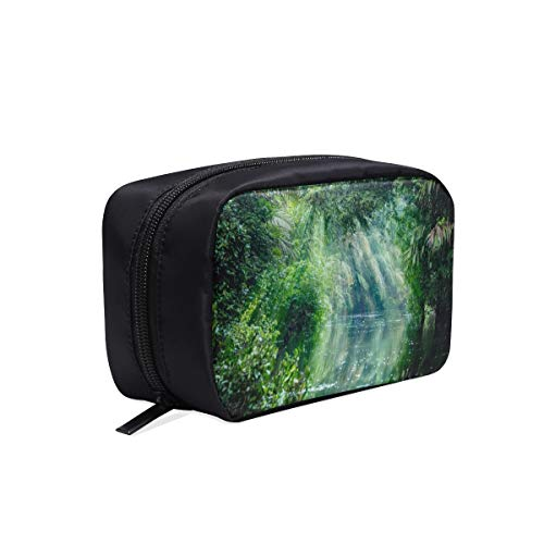 (Scenery In The Primitive Rainforest Portable Travel Makeup Cosmetic Bags Organizer Multifunction Case Small Toiletry Bags For Women And Men Brushes Case)