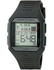 Rip Curl Mens Rifles Midsize Tide Quartz Plastic and Polyurethane Sport Watch, Color:Black (Model: A1124-BLK)