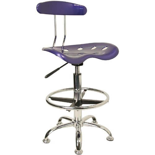Flash Furniture Vibrant Drafting Chair Seat in Deep Blue and Chrome LF-215-DEEPBLUE-GG