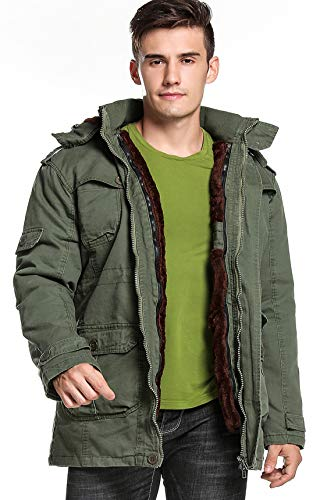 chouyatou Men's Winter Hooded Sherpa Lined Military Thicken Cotton Parka Jacket (XX-Large, 18Army Green) - Lightweight Hooded Parka