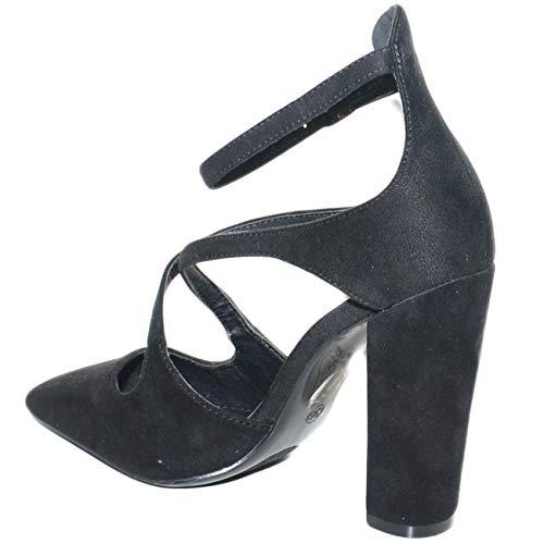 E Cinturino Largo Donna Shoes Decollete Nero Punta A Malu Intreccio Comfort Tacco Moda Con Frontale 81CqU