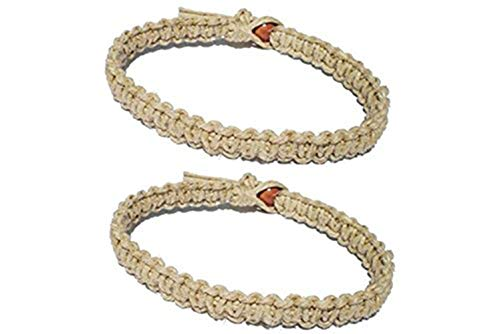 Luos Cultural Goods Two Natural Hemp Surfer Hawaiian Style Bracelet Anklet - Handmade- (A Set of 2) -