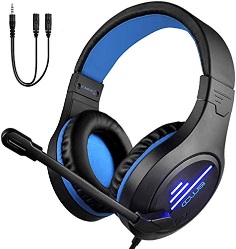 Gaming Headset for PS4, Xbox One, PC&Noise Cancelling Mic&LED Light,50mm Hi-Res,Compatible with Nintendo Switch,Mac,Laptop, Ipad,Xbox One Controller(Adapter Not Included),3.5mm Wired Gaming Headphone