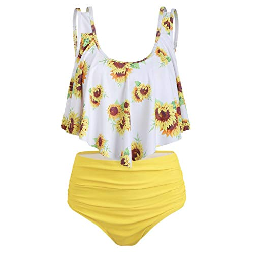 Weiliru Women Two Piece Bathing Suits Flounce Ruffled Top with High Waisted Sunflower Print Bottom Tankini Swim Suits Yellow]()