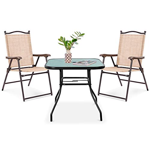 Giantex Outdoor Glass Table with 2 Folding Chairs Tempered Glass Tabletop with Umbrella Hole Foldable Chairs for Yard, Garden or Patio (With Folding Set Umbrella Patio)