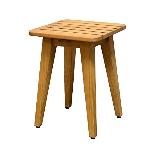 (Asta Solid Teak Indoor Outdoor Square Shower/Bath/Spa Stool, Side Table, Fully Assembled)