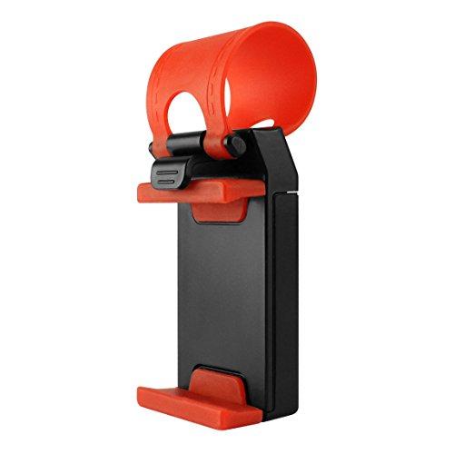 CyonGear PHHD100 Car Steering Wheel Phone Holder for iPhone 4/4s/5/5c/5c/6/6s, Samsung S4/S5/S6/ HTC One, MP3/MP4 Players and GPS - Retail Packaging - Red/Black
