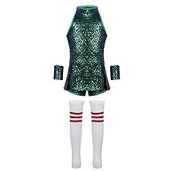 Mini Sequin Dress Dance Costume In Green