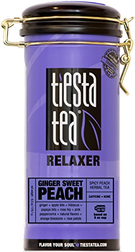 Tiesta Tea Ginger Sweet Peach, Spicy Peach Herbal Tea, 50 Servings, 6 Ounce Tin, Caffeine Free, Loose Leaf Herbal Tea Relaxer Blend - Zhena Tin Gypsy