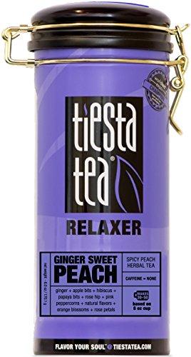 (Tiesta Tea Ginger Sweet Peach, Spicy Peach Herbal Tea, 50 Servings, 6 Ounce Tin, Caffeine Free, Loose Leaf Herbal Tea Relaxer Blend)