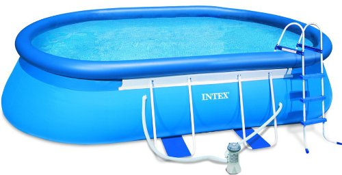 Intex 18' x 10' x 42'' Oval Frame Swimming Set with 1000 GPH GFCI Filter Pump