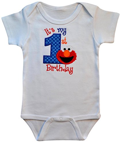 Embroidered Creeper - Funny Girl Designs Embroidered Elmo My First Birthday Year 1 Onesie Bodysuit Creeper Handmade Keepsake (12 Months Short Sleeve)