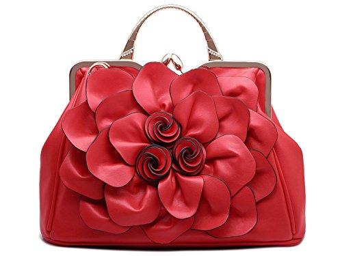Rouge PU Sac KAXIDY Cuir Main Sac à a Sac à Sac Satchel Femme Fleurs Bandoulière Trendstar Bandouliere élégant nxw60TrCqx