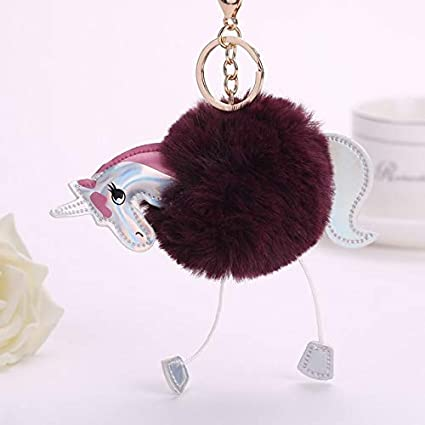 Amazon.com: Unicorn Keychain Artificial Pompoms Fur Ball ...
